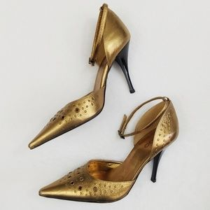 Aldo Gold Ankle Strap Stiletto Heels